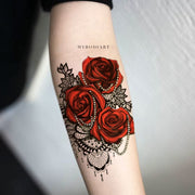 Popular Rose Floral Flower Black Chandelier Lace Forearm Tattoo Ideas for Women -  Ideas de tatuaje de antebrazo rosa para mujeres - www.MyBodiArt.com