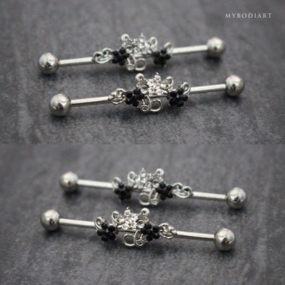 Crystal Flower Industrial Piercing Jewelry Scaffold Barbell Earring - www.MyBodiArt.com