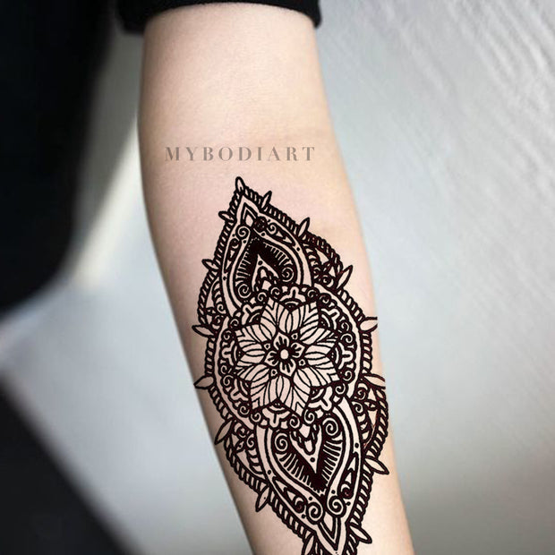 Boho Linework Flower Forearm Tattoo Ideas for Women - Cool Hindu Ethnic Tribal Floral Lotus Arm Sleeve Tat Black Henna - www.MyBodiArt.com #tattoos