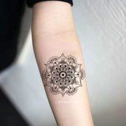 Tribal Boho Black Mandala Forearm Tattoo Ideas for Women - www.MyBodiArt.com #tattoos
