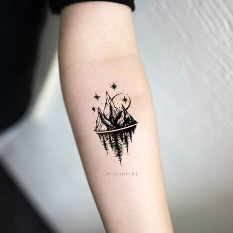 Womens Cool Nature Forearm Tattoo Ideas Mountain Trees Moon Stars Nature - Ideas de tatuaje de antebrazo de montaña para mujeres - www.MyBodiArt.com