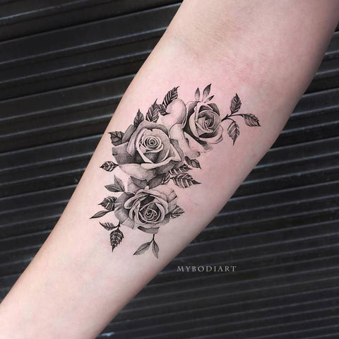 Cute Meaningful Black Vintage Black Floral Flower Rose Forearm Tattoo Ideas for Women -  Ideas de tatuajes de antebrazo rosa negro para mujeres - www.MyBodiArt.com #tattoos