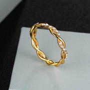 Lulu Cute Simple Dainty Crystal Twist Rose Gold Ring