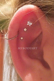 Cute Crystal Butterfly Triple Cartilage Helix Ear Piercing Jewelry Ideas Earring Studs 16G -  lindas ideas para perforar orejas - www.MyBodiArt.com #earrings
