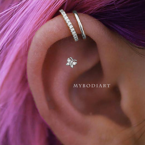 Cute Butterfly Cartilage Helix Ear Piercing Jewelry Ideas for Women -  lindas ideas para perforar orejas - www.MyBodiArt.com #piercings #earrings