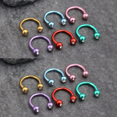 Rainbow Colored Septum Ring Daith Cartilage Ear Piercing Jewelry Ideas for Women - www.MyBodiArt.com