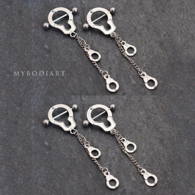 Handcuff Dangle Nipple Piercing Jewelry Rings - www.MyBodiArt.com