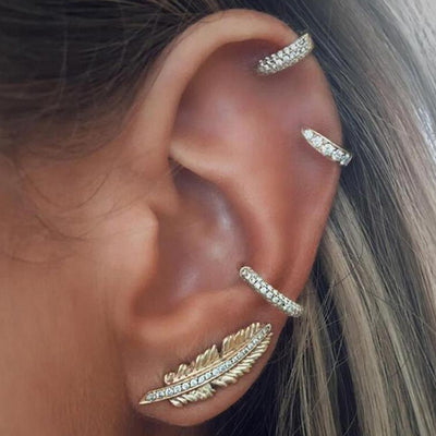 Unique Boho Leaf Feather Ear Climber Earring Piercing Ideas for Women Cartilage Helix Hoop Ring Earrings Leaf Feather Ear Climber -  ideas bohemias de perforación de la oreja - www.MyBodiArt.com