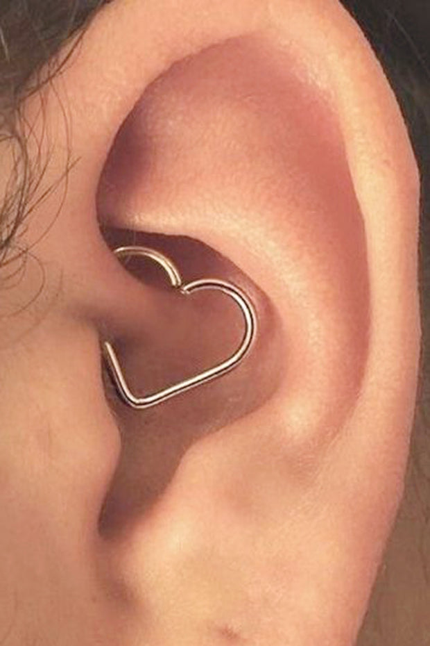 Unique and Simple Daith Ear Piercing Ideas for Teens for Women Wired Heart Daith Ring Hoop Jewelry 16G - www.MyBodiArt.com