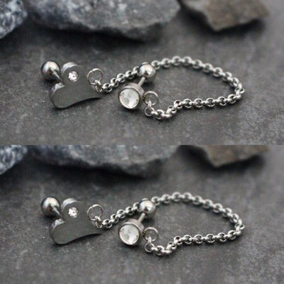 Double Cartilage Chain Earring with Crystal Heart - www.MyBodiArt.com
