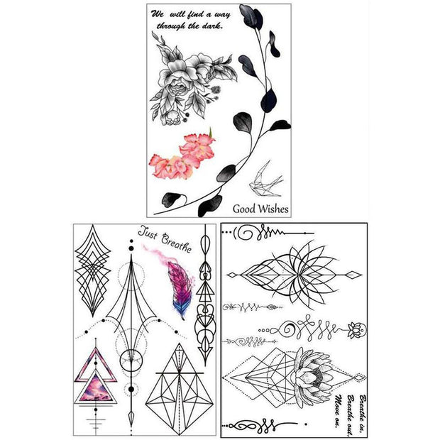 Sweet Whispers Black Henna Unalome Lotus Leaf Temporary Tattoo Set at MyBodiArt.com
