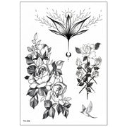 Hisa Vintage Realistic Black Floral Flower Rose Temporary Tattoo - www.MyBodiArt.com #tattoos