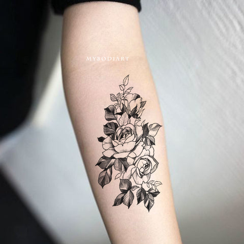 Cute Black and White Floral Flower Rose Forearm Tattoo Ideas for Women - www.MyBodiArt.com
