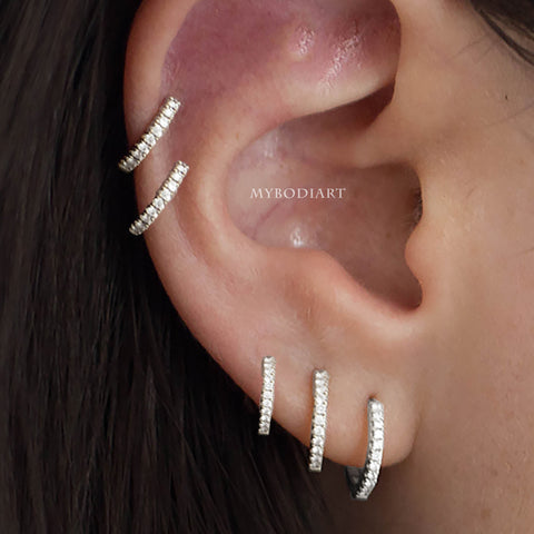 Multiple Hoop Cartilage Helix All the Way Around Ear Piercing Jewelry Ideas -  ideas de perforación del oído - www.MyBodiArt.com #piercings