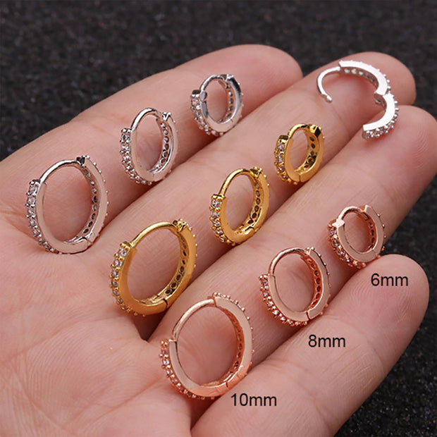 Crystal Ear Piercing Jewelry Hoop Huggie Earring 16G Fashion Jewelry for Women for Teen Girls - www.MyBodiArt.com