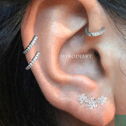 Multiple Hoop Cartilage Helix Ear Piercing Jewelry Ideas -  ideas de perforación del oído - www.MyBodiArt.com #piercings