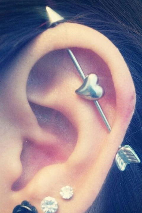 Cute Ear Piercing Ideas - Industrial Barbell Heart Arrow - Triple Lobe Earring Studs -  www.MyBodiArt.com