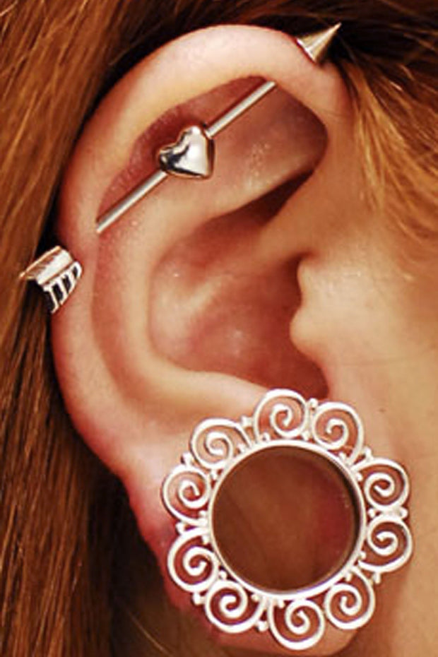 Unique Ear Piercing Ideas - Heart Arrow Industrial Barbell - Boho Ear Gauge Tribal Plugs - ideas para perforar orejas - www.MyBodiArt.com