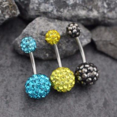 Glitter Ball Belly Button Ring Stud, Ferido Ball Navel Ring, Crystal Ball Belly Bar, Bling Navel Jewelry, Shamballa Ball Belly Piercing