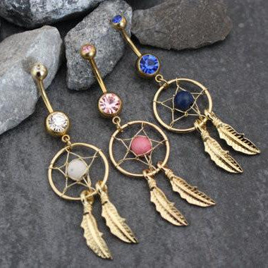 Feather Belly Button Ring Dreamcatcher Navel Jewelry Gold | Boho Chic Bohemian Dream Tribal Native Vintage | w/ High Gloss Pink Crystals