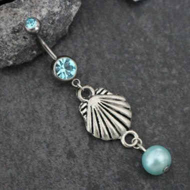 Seashell Belly Button Rings, Navel Piercing, Belly Button Piercing, Navel Jewelry, Belly Jewelry, Navel Ring