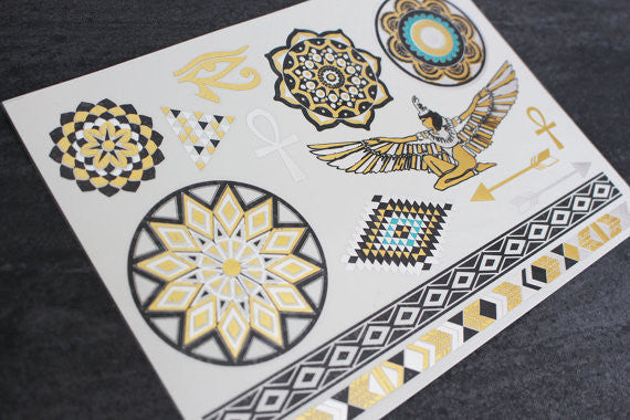 Golden Flash Temporary Tattoo Set at MyBodiArt