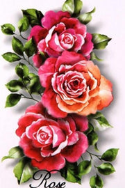 Realistic Traditional Vintage Red Pink Watercolor Floral Flower Rose Temporary Tattoo Ideas for Women - www.MyBodiArt.com