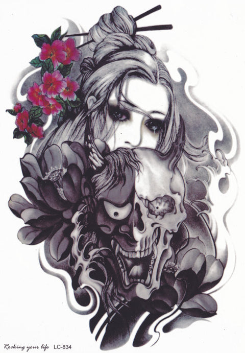 Gothic Lady Skull Tattoo at MyBodiArt