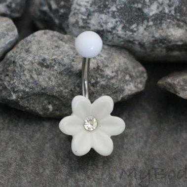 Acrylic Flower Belly Button Ring Stud at MyBodiArt