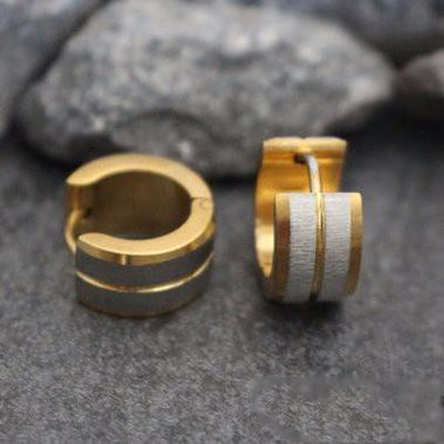Gold and Silver Small Hoop Huggie Metal Titanium Earrings for Men - www.MyBodiArt.com