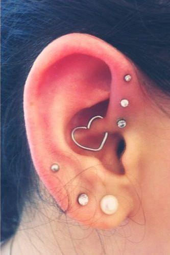 Silver 16G Heart Piercing at MyBodiArt
