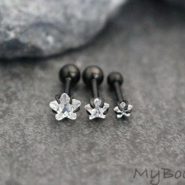 Crystal Star Blackline Tragus Earring, Cartilage Piercing, Helix Stud, Conch Earring at MyBodiArt