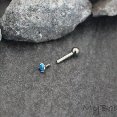 Gorgeous Blue Opal 16G Internally Threaded Silver Barbell Piercing for Tragus Earring, Conch Piercing, Cartilage Stud, Helix Jewelry, Rook Piercing etc.