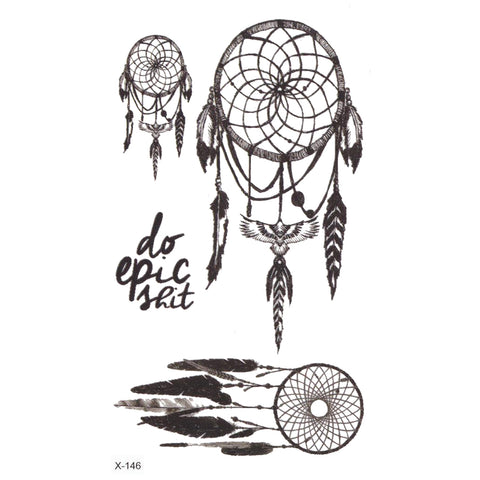 Small Cute Tribal Boho Dreamcatcher Temporary Tattoo Ideas Sheets for Women  - www.MyBodiArt.com
