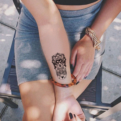 Tribal Temporary Tattoo, Wrist Tattoo, Forearm Tattoo, Evil Eye Tattoo, Hamsa Tattoo, Egyptian Tattoo, Small Temporary Tattoo, Henna Tattoo