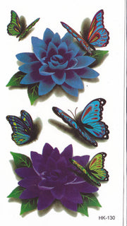 Butterfly and Flowers Small Temporary Tattoo