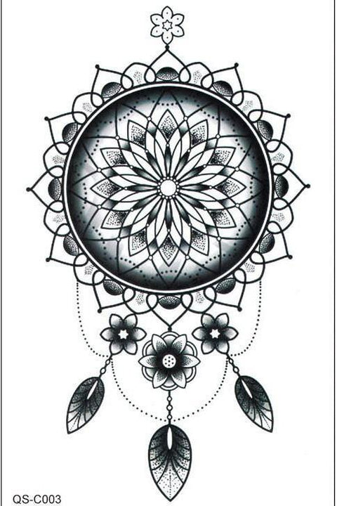 Cool Unique Black Henna Mandala Dreamcatcher Tribal Boho Ethnic Temporary Tattoo Ideas Design Art - www.MyBodiArt.com
