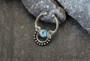 Blue Crystal Fake Septum Jewelry