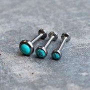 Simple Ear Piercing Ideas - Turquoise Tragus Jewelry, Helix Studs, Cartilage Ring, Triple Forward Helix Earrings - Boho Bohemian Style Outfit at MyBodiArt.com