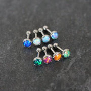 16G Opal Tragus Piercing Jewelry, Cartilage Earring, Helix Piercing, Conch Stud