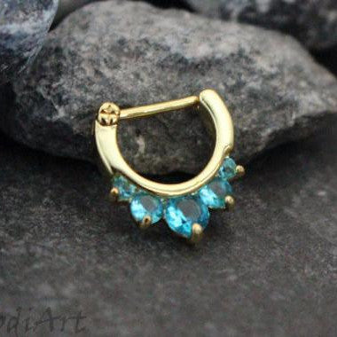 Blue Crystal Septum Clicker, Golden Daith Earring, Nipple Clicker