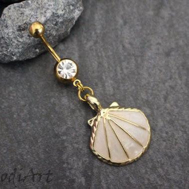 Pearl Seashell Belly Button Ring in Gold, Navel Jewelry, Belly Piercing, Navel Bar