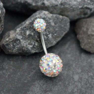 Aurora Borealis Ferido Crystal Belly Button Ring Stud