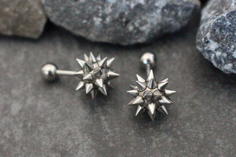Spikes Conch Earring, Spiky Cartilage Stud, Helix Earring, Tragus Stud, Conch Piercing, Cartilage Piercing, Tragus Earring, Helix Stud