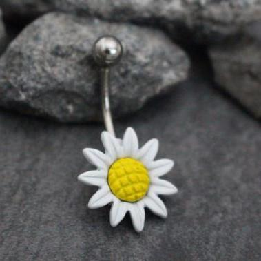 Daisy Belly Button Ring Stud, Belly Bar in Silver 14G