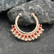 Red Crystal Rose Gold Fake Septum Ring