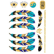 Gold Metallic Feather Tribal Boho Flash Temporary Tattoo for Women - www.MyBodiArt.com