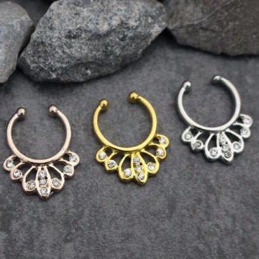 Butterfly Fake Septum Ring in Rose Gold, Gold, Silver