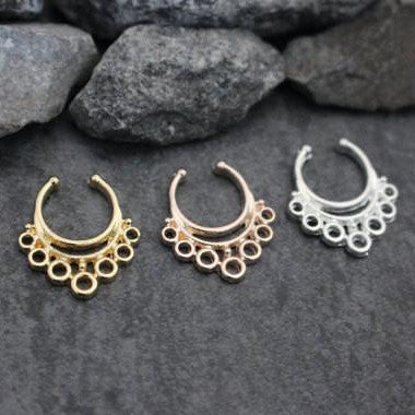 Septum Ring Fake, Septum Clip On, Piercing, Jewelry, Jewellery, Faux Septum Ring, Tribal Septum Ring, Indian, Traditional