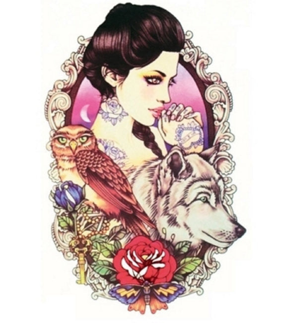 Wolf Princess Portrait Temporary Tattoo